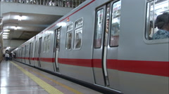 Beijing subway train closing doors, China - stock footage