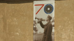 Stock Video Footage of WW2 anniversary poster in Prague