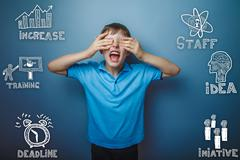 a boy in a blue shirt shouts hands eyes closed sketch icons set - stock photo