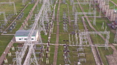 Flight over the powerful power substation Stock Footage