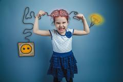 Adolescent girls wrinkled face shows the power of arms and power Stock Photos
