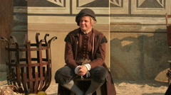 Man wearing a medieval costume in Prague Stock Footage