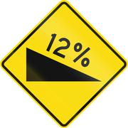 New Zealand road sign - warning of a steep downward grade - stock illustration