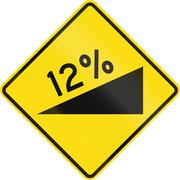 New Zealand road sign - warning of a steep upward grade - stock illustration