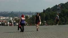 People walking in Hradcany Square, Prague Stock Footage