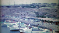 1954: Gulf pleasure sport boating harbor and construction of the harbormaster Stock Footage
