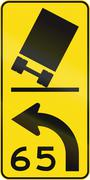 New Zealand road sign - Curve with Truck advisory speed - stock illustration
