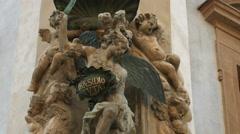 Statues with 'Praesidio Tvta' Latin inscription in Prague Stock Footage