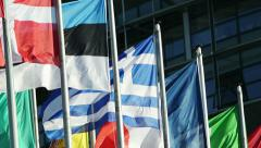 Eurozone - Close-up of Greek flag waving Stock Footage