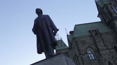 Statue of Sir Wilfrid Laurier (1841-1919), Parliament Hill, Ottawa Stock Footage