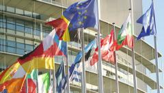 Eurozone - All European Union Flags waving in front of Parliament Stock Footage