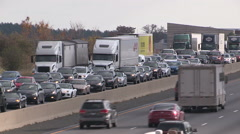 Traffic jam and gridlock on highway 401 in Ontario Stock Footage