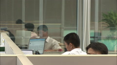 Young Chinese office workers, Beijing, China Stock Footage