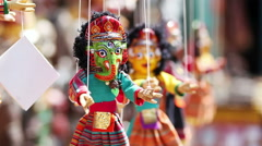 Indian wooded doll decorations at flea market in Anjun, Goa Stock Footage