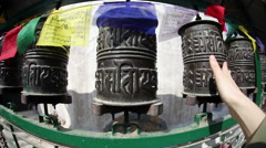 Buddhist prayer wheels Stock Footage