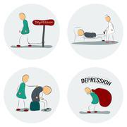 Icon set man in depression Stock Illustration