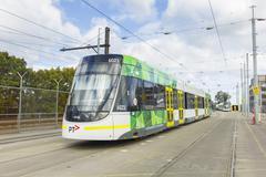 A E-Class tram in a city depot in Melbourne - stock photo