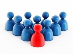 Group of people with a leader - stock illustration