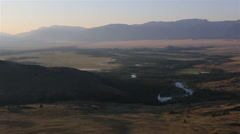 Panorama of Kuray steppe and North Chuya ridge at dawn Stock Footage