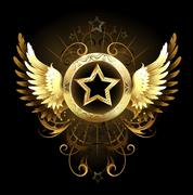 star with golden wings - stock illustration