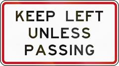 New Zealand road sign RG-22 - Keep left unless passing (overtaking) Stock Illustration