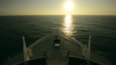 Cruise Ship Ocean Crossing. Sunset Scenery. - stock footage