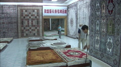 Chinese carpet showroom, Silk Road, China Stock Footage