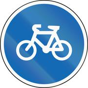 New Zealand road sign RG-25 - Cyclists only (bicycle pathway) - stock illustration