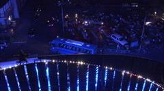 Neon lights & night market, Turfan, China Stock Footage