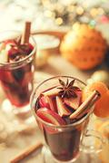 Close up image hot wine drink with spices - stock photo