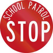 New Zealand road sign RG-28 - Stop for School Patrol Piirros
