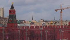 Russian president helicopter landing in Moscow Kremlin Stock Footage