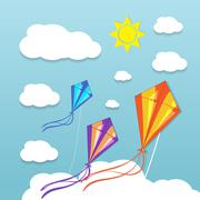 Three kites in the sky Stock Illustration