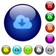 Color cloud download glass buttons - stock illustration