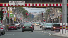 Traffic Long Shot with Tram line Stock Footage