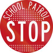 New Zealand road sign RG-28 - Stop for School Patrol, perforated version - stock illustration