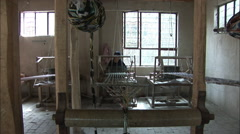 Silk weaving workshop, China Stock Footage