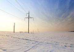 power line. Winter - stock photo