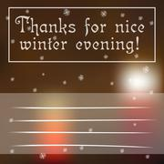 Winter greetings card with blurred candles on the background - stock illustration