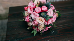 Wedding bouquet with roses - stock footage