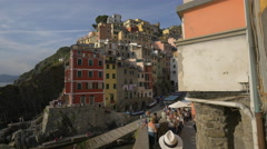 Colorful buildings in Vernazza, Cinque Terre Stock Footage