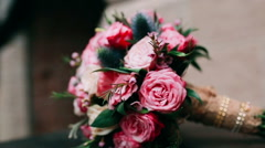 Wedding bouquet with roses Stock Footage