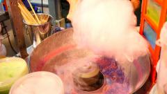 Cotton Candy Prepared  Bought Night Making Process Cotton Candy 4k funfair - stock footage