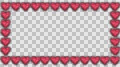 Frame made of glowing hearts Stock Footage