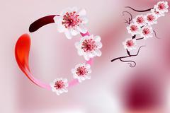 Stock Illustration of Pink cherry blossom sakura flowers  in Japanese style