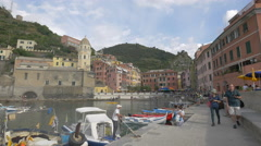 Tourists and boats on Riviera Ligure di Levante, Cinque Terre Stock Footage