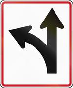Stock Illustration of New Zealand road sign RG-29 - Straight ahead or left turn lane