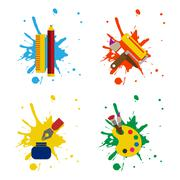 Web icon illustrator paint vector pack Stock Illustration