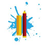 Web icon illustrator pencil and rule Stock Illustration