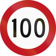 Stock Illustration of New Zealand road sign RG-2 - 100 kmh limit. This is the maximum legal speed f